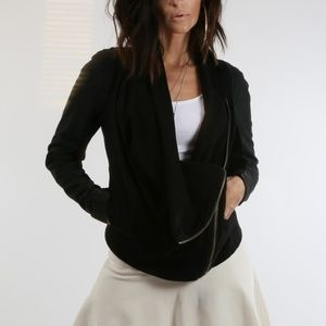 HELMUT LANG Black Suede Cotton Biker Jacket
